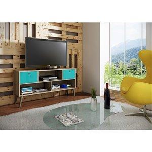 Manhattan Comfort Uppsala TV Stand with 3 Shelves - 53.15-in x 27.36-in - Oak/Aqua Blue
