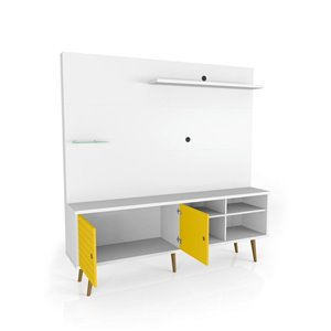 Manhattan Comfort Liberty Entertainment Centre with Overhead Shelf - 70.87-in x 72.05-in - White/Yellow