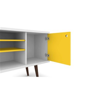 Manhattan Comfort Liberty TV Stand with 5 Shelves and 1 Door - 53.14-in x 26.57-in - White/Yellow