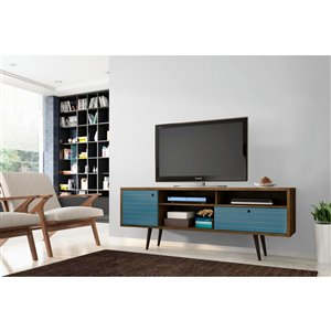 Manhattan Comfort Liberty TV Stand with Shelves and Drawer - 70.86-in x 26.57-in - Rustic Brown/Aqua Blue