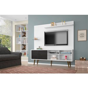 Manhattan Comfort Liberty Entertainment Centre with Overhead Shelf - 70.87-in x 72.05-in - White/Black