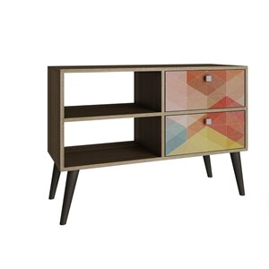 Manhattan Comfort Dalarna TV Stand with 2 Shelves and 2 Drawers - 35.43-in x 24.8-in - Oak/Multicolour