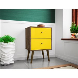 Manhattan Comfort Liberty Nightstand 2.0 with 2 Drawers - 17.72-in x 27.09-in - Rustic Brown/Yellow