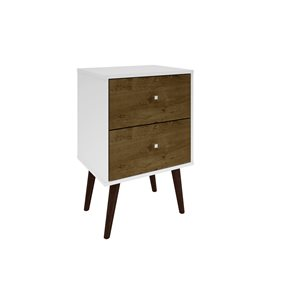 Manhattan Comfort Liberty Nightstand 2.0 with 2 Drawers - 17.72-in x 27.09-in - White/Rustic Brown