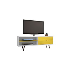 Manhattan Comfort Liberty TV Stand with 3 Shelves and 2 Doors - 62.99-in x 25.59-in - White/Yellow