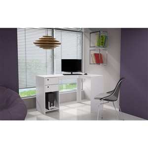 Manhattan Comfort Palermo Classic L-Desk with 2 Drawers and 1 Cubby - 50.39-in x 31.89-in - White