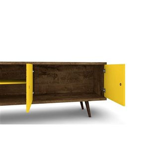 Manhattan Comfort Liberty TV Stand with 3 Shelves and 2 Doors - 62.99-in x 25.59-in - Rustic Brown/Yellow