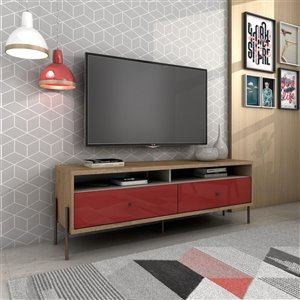 Manhattan Comfort Joy TV Stand with 2 Drawers - 59.06-in x 20.28-in - Red/Wood