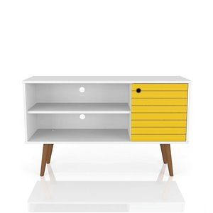 Manhattan Comfort Liberty TV Stand with 2 Shelves and 1 Door - 42.52-in x 25.8-in - White/Yellow