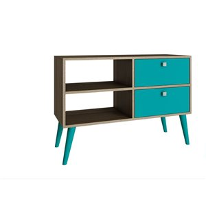Manhattan Comfort Dalarna TV Stand with 2 Shelves and 2 Drawers - 35.43-in x 24.8-in - Oak/Aqua Blue