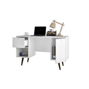 Manhattan Comfort Edgar 1-Drawer Mid-Century Office Desk - 53.14-in x 30.9-in - White