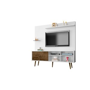 Manhattan Comfort Liberty Entertainment Centre with Overhead Shelf - 70.87-in x 72.05-in -White/Rustic Brown
