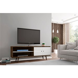 Manhattan Comfort Liberty TV Stand with 3 Shelves and 2 Doors - 62.99-in x 25.59-in - Rustic Brown/White