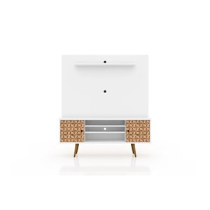 Manhattan Comfort Liberty Entertainment Centre with Overhead Shelf - 63-in x 71.92-in - White/3D Brown Prints