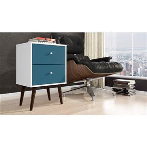 Manhattan Comfort Liberty Nightstand 2.0 with 2 Drawers - 17.72-in x 27.09-in - White/Aqua Blue