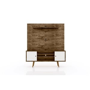 Manhattan Comfort Liberty Entertainment Centre with Overhead Shelf - 63-in x 71.92-in - Rustic Brown/White