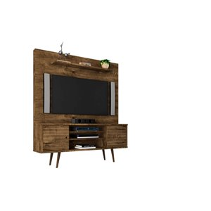 Manhattan Comfort Liberty Entertainment Centre with Overhead Shelf - 63-in x 71.92-in - Rustic Brown