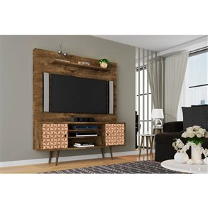 Manhattan Comfort Liberty Entertainment Centre with Overhead Shelf - 63-in x 71.92-in - Rustic Brown/3D Prints