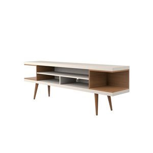 Manhattan Comfort Utopia TV Stand with Splayed Legs and Shelves - 70.47-in x 24.01-in - Off White/Maple Cream