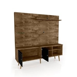 Manhattan Comfort Liberty Entertainment Centre with Overhead Shelf - 70.87-in x 72.05-in - Rustic Brown/ Black