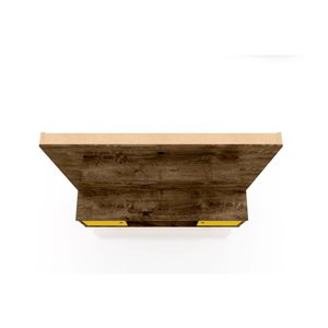 Manhattan Comfort Liberty Entertainment Centre with Overhead Shelf - 63-in x 71.92-in - Rustic Brown/Yellow