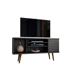 Manhattan Comfort Liberty TV Stand with 5 Shelves and 1 Door - 53.14-in x 26.57-in - Black/Wood