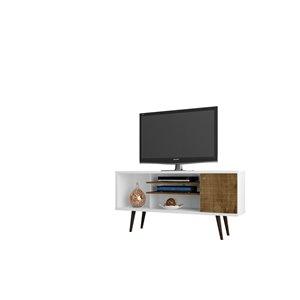 Manhattan Comfort Liberty TV Stand with 5 Shelves/1 Door - 53.14-in x 26.57-in - White/Rustic Brown