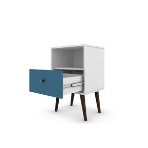 Manhattan Comfort Liberty Nightstand 1.0 with Cubby - 17.72-in x 27.09-in - White/Aqua Blue