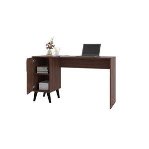 Manhattan Comfort Hogan Mid-Century Office Desk - 53.14-in x 30.11-in - Dark Brown