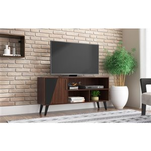 Manhattan Comfort Hogan TV Stand with 4 Shelves - 53.14-in x 25.59-in - Dark Brown