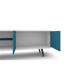 Manhattan Comfort Liberty TV Stand with 3 Shelves and 2 Doors - 62.99-in x 25.59-in - White/Aqua Blue