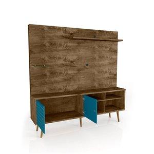 Manhattan Comfort Liberty Entertainment Centre with Overhead Shelf - 70.87-in x 72.05-in - Rustic Brown/Aqua Blue