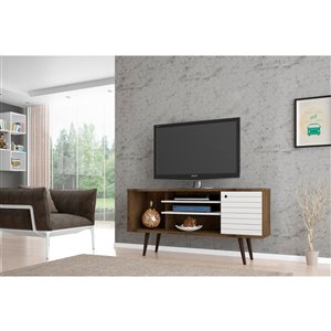 Manhattan Comfort Liberty TV Stand with 5 Shelves and 1 Door - 53.14-in x 26.57-in - Rustic Brown/White