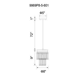CWI Lighting Weiss Mini Chandelier - 5-Light - 8-in - Chrome