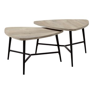 Monarch Specialties Accent Table Set - Taupe Reclaimed Wood and Black Metal - Set of 2