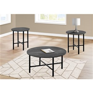 Monarch Specialties Accent Table Set - Black Reclaimed Wood and Black Metal - Set of 3