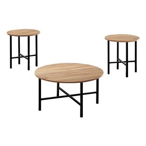 Monarch Specialties Accent Table Set - Golden Pine and Black Metal - Set of 3