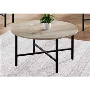 Monarch Specialties Accent Table Set - Taupe Reclaimed Wood and Black Metal - Set of 3