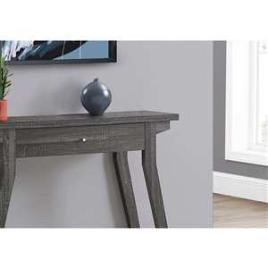 Monarch Specialties Console Table in Grey with Storage Drawer - 42-in L