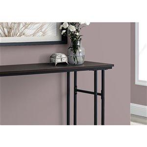 Monarch Specialties Console Table in Espresso and Blak Metal - 48-in L