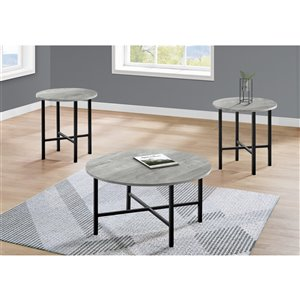 Monarch Specialties Accent Table Set - Grey Reclaimed Wood and Black Metal - Set of 3