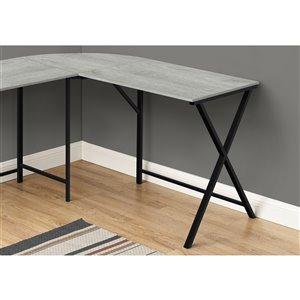 Monarch Specialties L Shaped Corner Computer Desk Grey Top and Black Metal - 55-in L