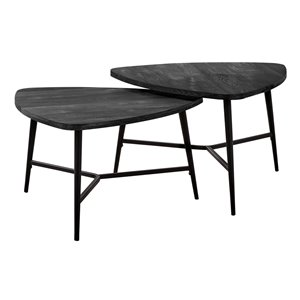 Monarch Specialties Accent Table Set - Black Reclaimed Wood and Black Metal - Set of 2