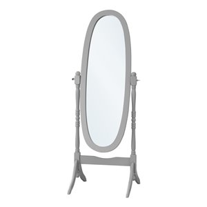 Monarch Specialties Oval Mirror with Wood frame - Grey - 59-in H