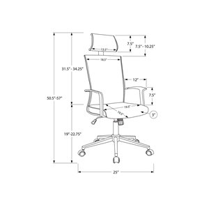 Monarch Specialties Office Chair with High Back Executive - Adjustable Seat Height - White and Grey Fabric
