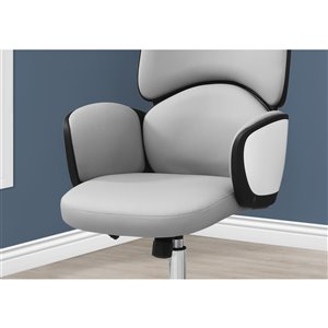 Monarch Specialties Office Chair with High Back Executive - Adjustable Seat Height - Grey Leather Look