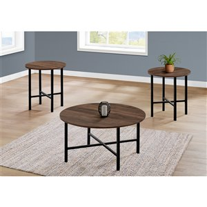 Monarch Specialties Accent Table Set - Brown Reclaimed Wood and Black Metal - Set of 3