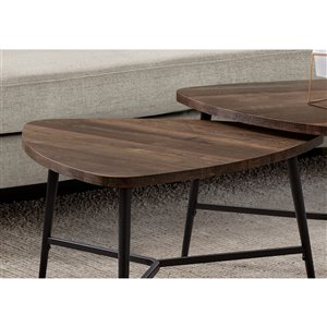 Monarch Specialties Accent Table Set - Brown Reclaimed Wood and Black Metal - Set of 2