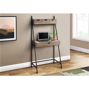 Monarch Specialties Computer Desk Dark Taupe and Black Metal - 32-in L