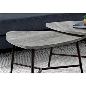Monarch Specialties Accent Table Set - Grey Reclaimed Wood and Black Metal - Set of 2